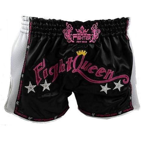 4Fighter Low Waist donne Muay Thai Shorts 'Fight Queen' raso nero con Mesh bianca, Taille:L - Muay Thai Kickbox Shorts