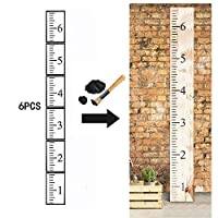KOBWA 6ft Growth Chart Ruler Stencil, 6Pcs Hollow Out Ruler Template Kit, Reusable Painting Stencils Scale DIY Craft Ruler for Measuring Child Height, Wood Length
