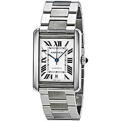 Cartier Men's Tank Solo Steel Bracelet & Case Sapphire Crystal Automatic Silver-Tone Dial Watch W5200028