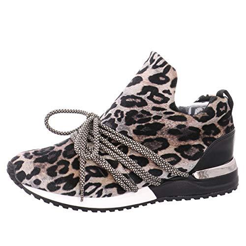 La Strada 1804189 Sneaker Velvet Beige Leopard 37