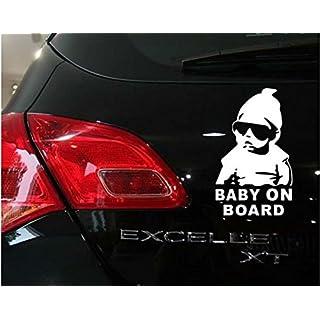 Vinyl Auto Aufkleber Baby on Board - Kind mit Sonnenbrille Hangover Film Stil für Fenster Entfernbarer Sticker DIY (15x11 cm)