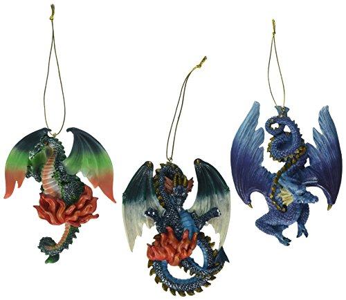 Christbaumschmuck - Drei Drachen von Talbooth Castle Holiday Ornament Set von drei - Drachen-Statue -