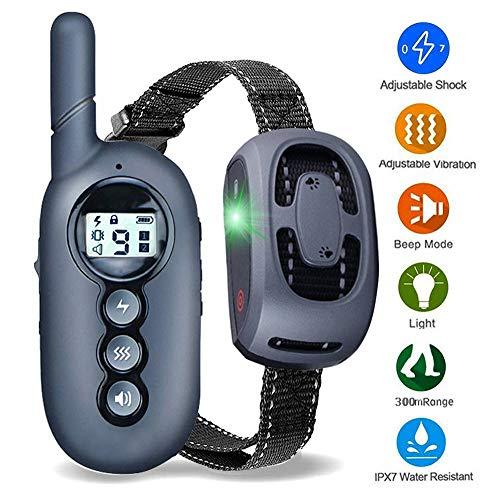 Jiewo 400 Metros de Collar de adiestramiento Perros, Collares de adiestramiento para Perros con vibración, D y Sonido, Recargable y Resistente al Agua