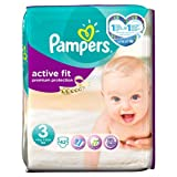 Pampers Active Fit Couches Taille 3 Essential Lot de 42 couches