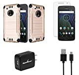 Moto G5 Plus - Accessory Bundle with Dual Layer [Brushed Metal Texture] Hybrid Case - [Gold], Atom LED, Tempered Glass Screen Protector, 10W/2.1A Home Wall Charger, Micro USB Cable