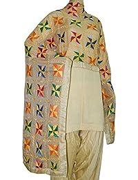 Phulkari Dupatta Embroidered In Off White Color - Multi Colored Thread Embroidery