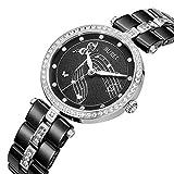 BUREI Elegant Damen Uhren Silber Quarz Armbanduhr mit diamantenlünette Mineral Kristall Zifferblatt Keramik Gurt (schwarz)