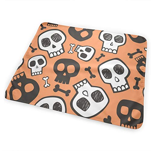 (Skulls And Bones Halloween Black U White On Orange Bed Pad Washable Waterproof Urine Pads for Baby Toddler Children and Adults 31.5 X 25.5 inch)