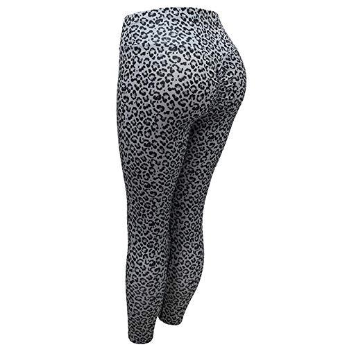 FANGNVREN Yoga Hose,Frauen Leopardenmuster Yoga Hosen Femme Hohe Taille Fitness Push up Kompression Jogging Leggins Fitnessraum Kleidung Sport Slim Hose, Photo Color, L198 -