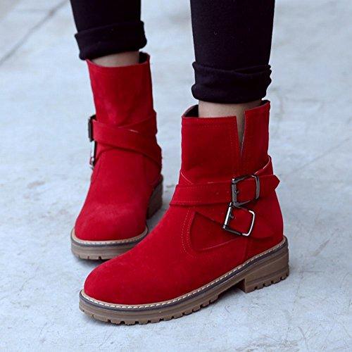 Mee Shoes Damen chunky heels runder toe kurzschaft Ankle Boots Rot