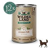 Wildes Land | Nassfutter für Hunde | Pferd PUR | 12 x 400 g | mit Distelöl | Getreidefrei & Hypoallergen | Extra hoher Fleischanteil von 70% Akzeptanz und Verträglichkeit