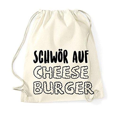 t Spruch / Modell Schwör auf Cheeseburger / viele verschiedene Farben / Beutel Rucksack Jutebeutel Sportbeutel Fashion Hipster (Cheeseburger-rucksack)