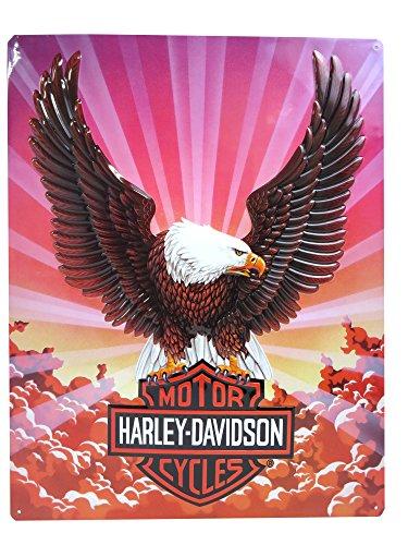 Harley-Davidson Tin Sign, Bar & Shield Eagle with Clouds, 14 x 17 inch 2010041