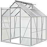 Deuba® Aluminium Gewächshaus 5,85m³ mit Fundament Treibhaus Gartenhaus Frühbeet Pflanzenhaus Aufzucht 190x195cm | Modellauswahl |verschiedene Größen |Fundament optional auswählbar