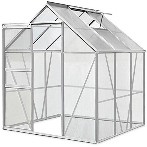 Deuba Aluminium Gewächshaus | 5,85m³ | 190x195cm | Treibhaus Gartenhaus Frühbeet Pflanzenhaus Aufzucht -