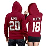 King Queen + Wunschnummer Set 2 Hoodies Pullover Pulli Liebe Love Pärchen Couple Cherry Red (King Gr. M + Queen Gr. S)