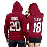 King Queen + Wunschnummer Set 2 Hoodies Pullover Pulli Liebe Love Pärchen Couple Cherry Red (King Gr. S + Queen Gr. XXL)
