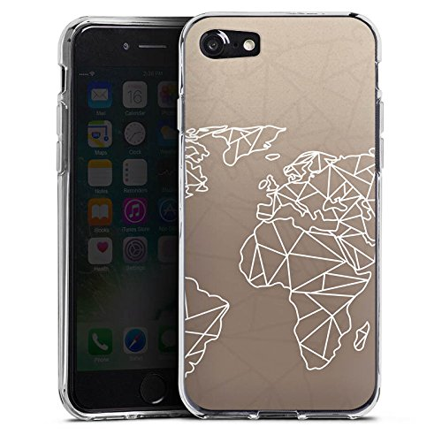 Apple iPhone 6 Silikon Hülle Case Schutzhülle Weltkarte Polygon Reisen Silikon Case transparent