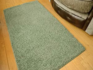 Glade Green Machine Washable Thick Soft Shaggy Rug. Available in 4 Sizes. by Rugs Supermarket