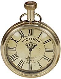 Kartique Brass Victoria London Antique Style Pocket Watch With Chain | | Roman Number Dial | Pendant | Necklace...