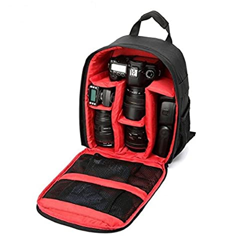 Heekpek Camera Bag DSLR Shockproof Waterproof Backpack For Sony Canon Nikon With Tripod Holder (red)
