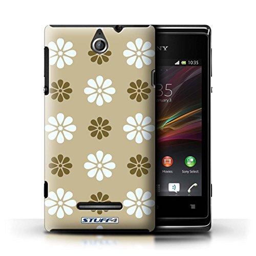 Kobalt® Imprimé Etui / Coque pour Sony Xperia E / Vert conception / Série Motif avec pétales Beige