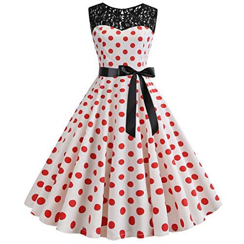 kolila Retro Swing Kleider Sommer Damen Sleeveless Spitze Splice Dot Gedruckt Kleid Vintage Abend Party Kleid Dress(Rot,M)