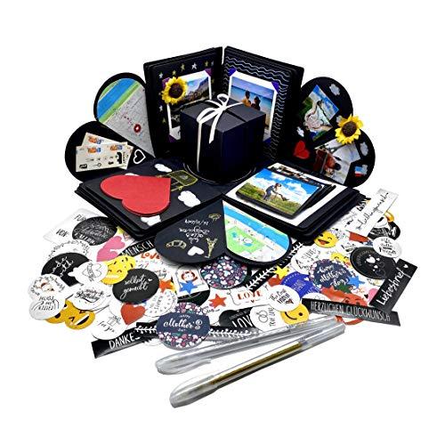 Explosionsbox Geburtstag (Stifte, Sticker) Überraschungsbox Surprise Explosion Box Boomf Box Bilderbox Herzensbox Liebesbox Fotobox zum Selbstgestalten Geschenkbox DIY Kreative Überraschung Box