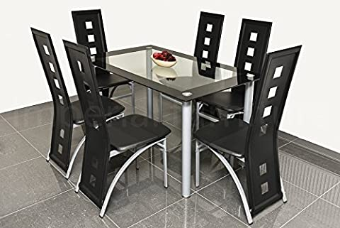 MODERN GLASS DINING TABLE SET BLACK OR WHITE WITH 4/6 FAUX LEATHER CHAIRS NEW (Black, Large - Set of 6 Chairs Plus