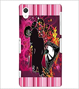 PrintDhaba Girl and Abstract Design D-3029 Back Case Cover for SONY XPERIA Z2 (Multi-Coloured)