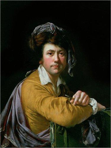 Holzbild 60 x 80 cm: Selbstportrait von Joseph Wright of Derby / Bridgeman (Kreide Sie Ein Kostüm Machen)