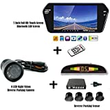 MotoPanda Combo of 7 Inch Full HD Bluetooth LED Screen + 8LED Reverse Camera for Cars + Reverse Parking Sensor