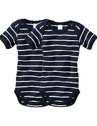 wellyou, 2er Set Kinder Baby-Body Kurzarm-Body, marine-blau weiß gestreift, für Jungen und Mädchen, geringelt, Feinripp 100% Baumwolle, Größe 50-134