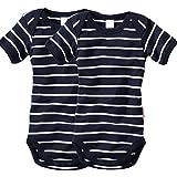 wellyou, 2er Set Kinder Baby-Body Kurzarm-Body, marine-blau weiß gestreift, für Jungen und Mädchen, geringelt, Feinripp 100% Baumwolle, Größe 92 - 98