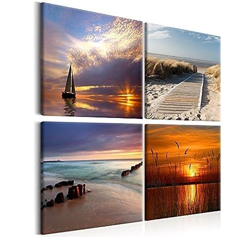 murando - Bilder Landschaft 80x80 cm - Leinwandbilder - Fertig Aufgespannt - Vlies Leinwand - 4 Teilig - Wandbilder XXL - Kunstdrucke - Wandbild - Canvas - Natur Meer Wasser Sonnenuntergang Strand See c-B-0266-b-i