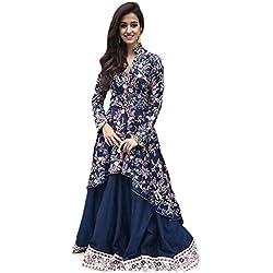 Shopyourstyle Women's Georgette Dress (Disha Patani 1_Blue_Free Size)