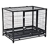 "Pawhut 43"" Heavy Duty Metal Dog Kennel Pet Cage with Crate Tray"