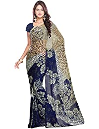 Ligalz Women's Chiffon Saree With Blouse Piece (L0061154_Blue)