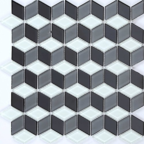 30cm x 30cm Black & White 3D Cubes Glass Mosaic Tiles Sheet (MT0083)