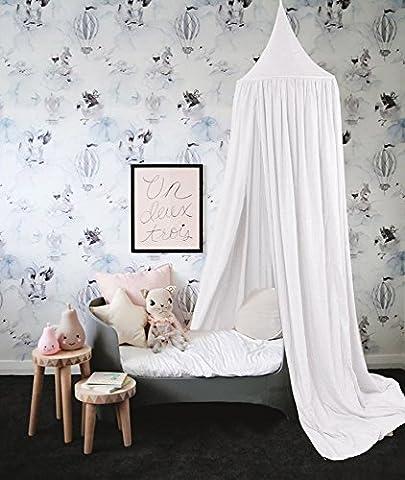 Baibu Deko Betthimmel Bettvorhang für Kinder,Moskitonetze Baldachin für Bett im Zimmer Weiß