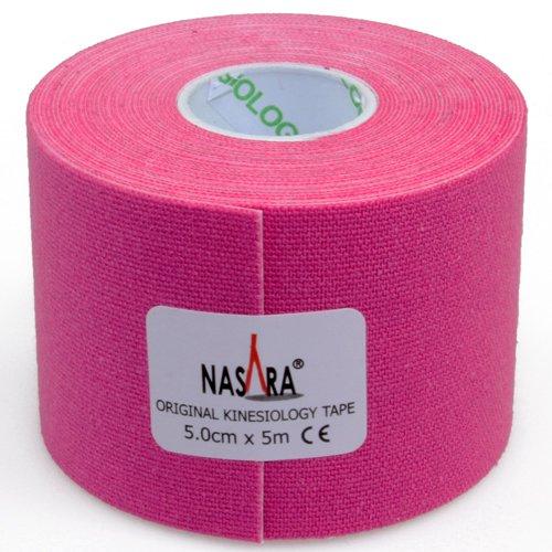 2x NASARA Kinesiologie Tape kinesiologische Tapes im Set * 5m x 50mm (2er 1x blau 1x pink) - 5