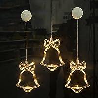 Gogogo Battery Operated Cool White LED Acrylic Snowflake Hanging Sucker Window Light Christmas Lamp Wedding Party-Bell