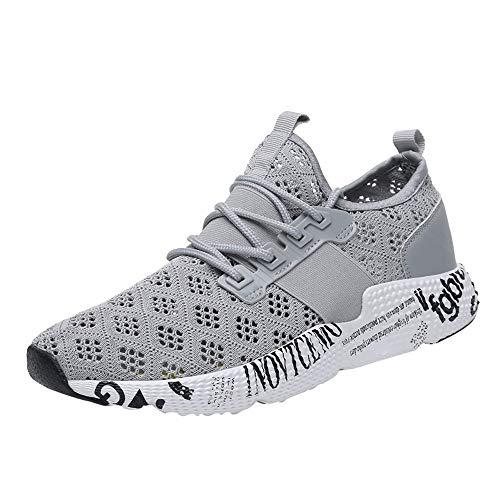 Vovotrade Liebhaber Schuhe Unisex Damen Herren Laufschuhe Sportschuhe Gym Turnschuhe Freizeitschuhe Atmungsaktiv Running Sneaker Low Top Schnürschuhea Mesh Outdoor Shoes (EU:40.5, Grau Mesh)