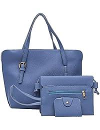 Zibuyu 4pcs/Set Women Solid PU Handbag+Shoulder Bag+Clutch+Card Bag(Blue)
