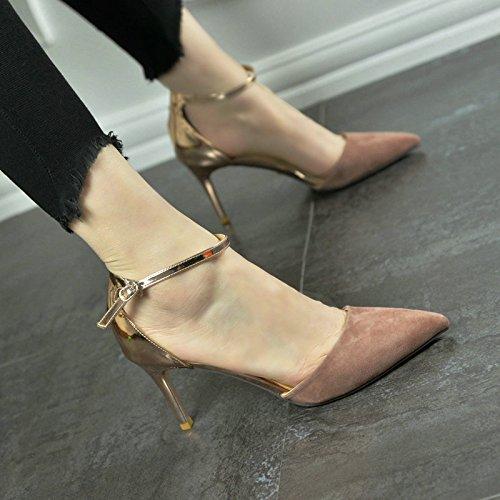 schuhe Die Sandalen sind im Sommer und Sandalen der Baotou Frauen High Heels und die Weibliche feine Absätze sind neu im Sommer. Thirty-Seven Rosa (Clark Schuhe Weiblich)