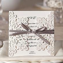 Wishmade Einladungskarten Für Hochzeit Geburtstag Taufe Weiß Blumen  Lasercut Design Mit Schleife Set 20 Stücke Inkl