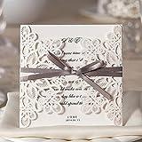 Wishmade Einladungskarten Für Hochzeit Geburtstag Taufe Weiß Blumen Lasercut Design Mit Schleife Set 20 Stücke inkl Umschläge und Aufkleber