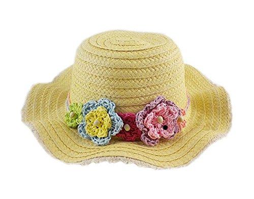Kids Papier Straw Hat Crochet Blumen Gelbe Sonnenschutz-Hut 3-5 Jahre alt (Hut Carl S)