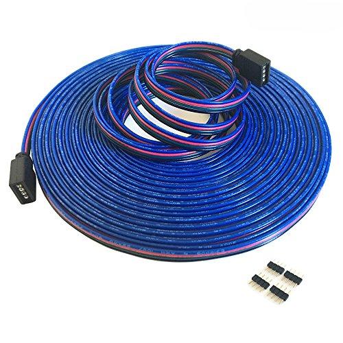 4-polig 10m RGB Verlängerungskabel Linie LED Kabel RGB Verbinder für LED-Strip-RGB5050/RGB3528 LED Streifen Licht Band Lampe(10m/32.8ft)[Energieklasse A++] -