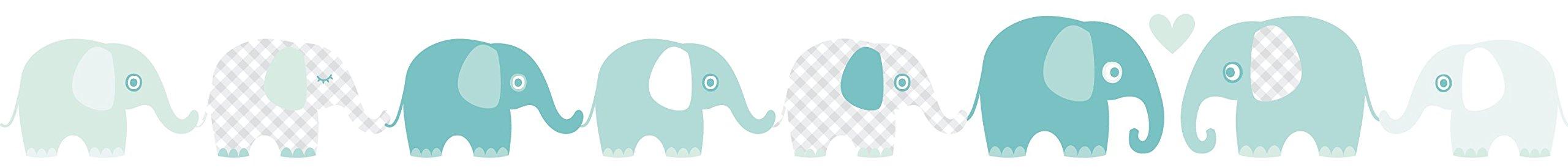 Lovely Label Bordure Selbstklebend Elefanten Mint Grau Wandbordure